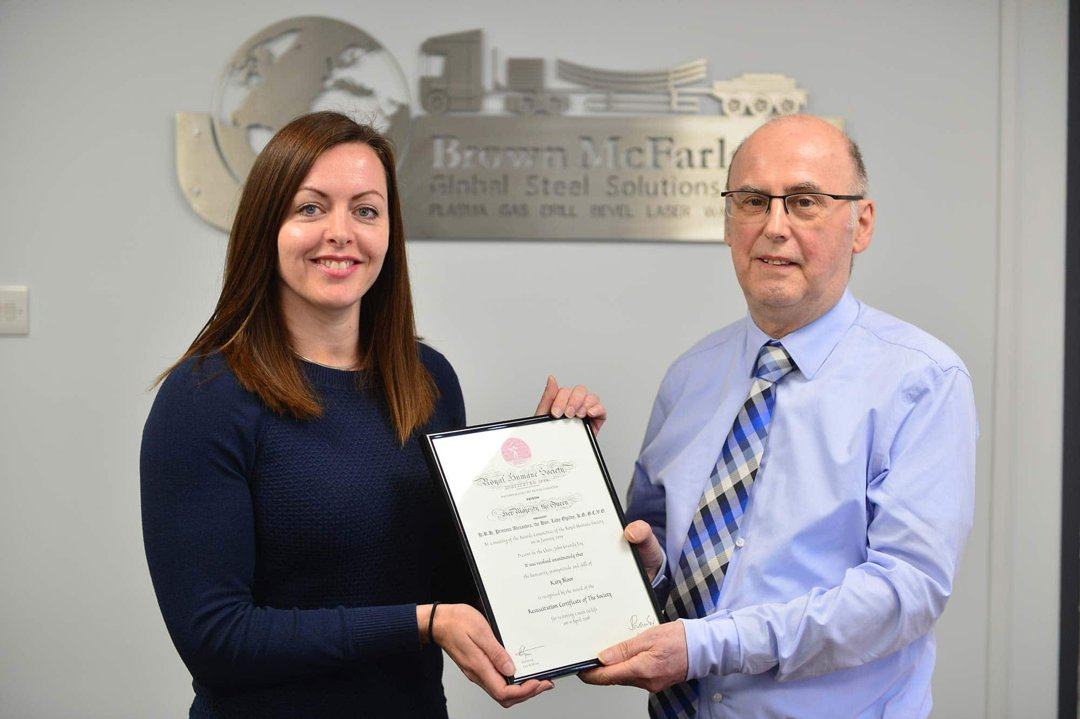 Brown McFarlane's Katy receives recognition for saving colleague's life
